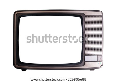 View of old television isolated on white background - stock photo