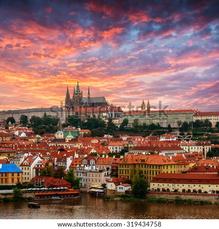 View of old town and Prague castle with Vitava River, Czech Republic - stock photo