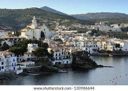 View of old town Cadaques, Catalonia, Spain - stock photo