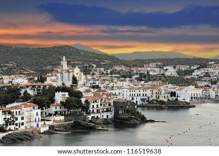 View of old town Cadaques (Costa Brava, Catalonia, Spain) - stock photo