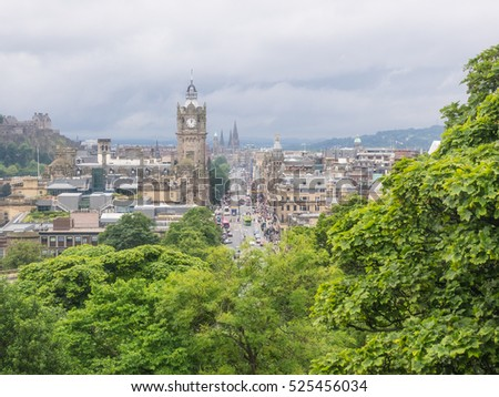 View of Old Town in Edinburgh from Calton Hill.