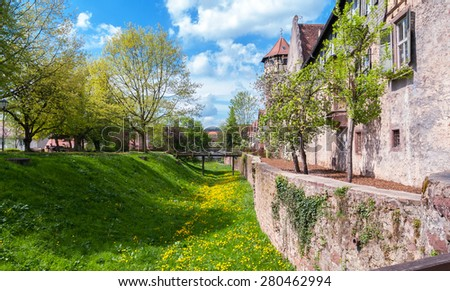 View of old town Michelstadt with city wall - stock photo
