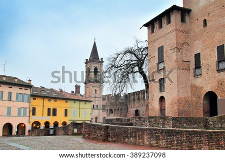 View of old town of Fontanellato and medieval castle, Emilia Romagna, Italy. - stock photo