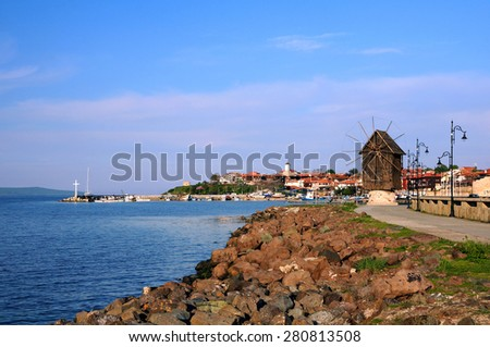 View of Old Town  of Nesebar in Bulgaria by the Black sea - stock photo