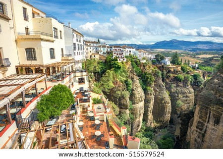 View of old town on Tajo Gorge in Ronda. Andalusia, Spain