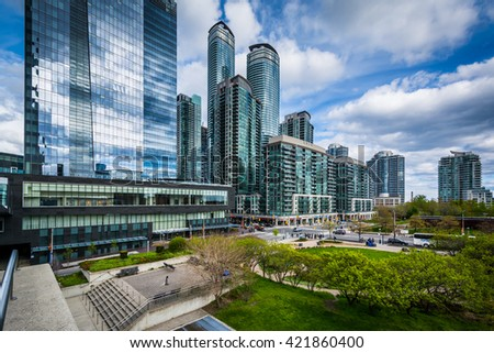 View of Olympic Park and modern skyscrapers in downtown Toronto, Ontario.