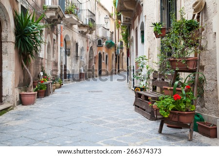 View of one characteristic street in Ortigia, the old part of Syracuse, with an ornamental wooden ladder and flowered vases