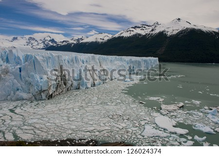View of one of the fronts of the glacier Perito Moreno in the Los Glaciares National Park of  Patagonia, facing on the Lake Argentino