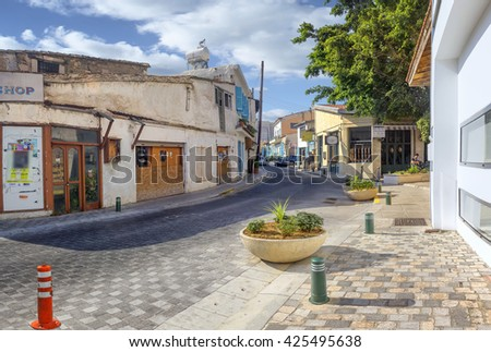 View of one of the small streets of the old Larnaca. Cyprus. - stock photo