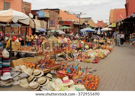 View of one part of the Jamaa el Fna square, the main market place in Marrakesh, Morocco. The photo was taken on 8th January, 2016 - stock photo