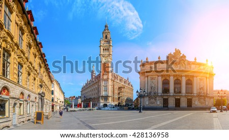 View of Opera house and chamber of commerce in Lille France - stock photo