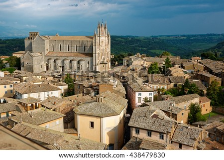 View of Orvieto town, Umbria, Italy, thunderstorm is coming - stock photo