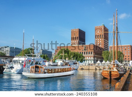 View of Oslo Radhuset (town hall) from the sea, Oslo, Norway - stock photo