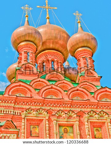 View of Ostankino Holy Trinity Church, Moscow, Russia, East Europe. Built in 1680 - stock photo