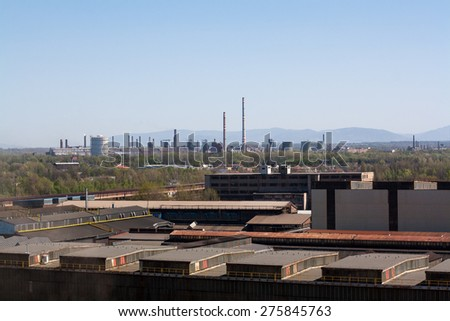 View of Ostrava city, view of factory, Czech republic