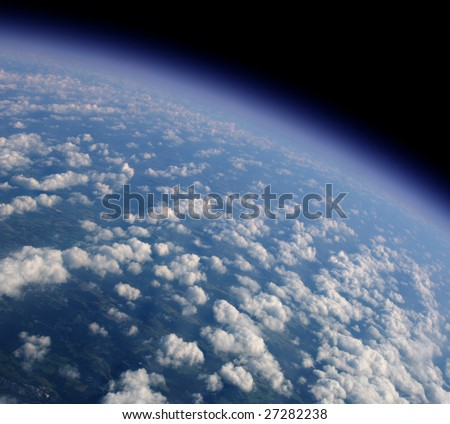View of our blue planet from an airplane