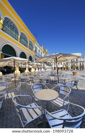 View of outdoor cafe and brewery in old Havana plaza Vieja - stock photo