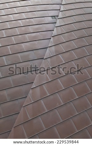 View of overlapping roof tiles