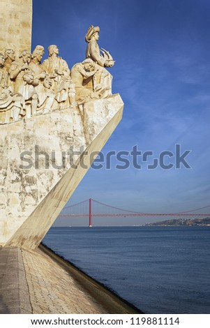 view of Padrao dos Descobrimentos, famous monument in Lisbon - stock photo