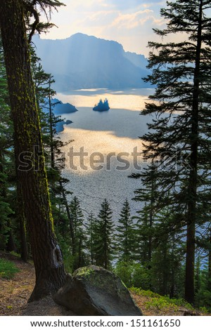 View of Paradise Island in Crater Lake National Park, Oregon at Dusk - stock photo