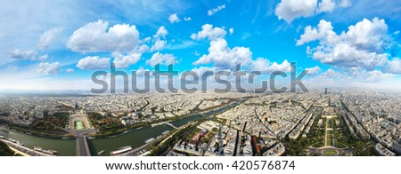View of Paris and the Seine from the Eiffel Tower