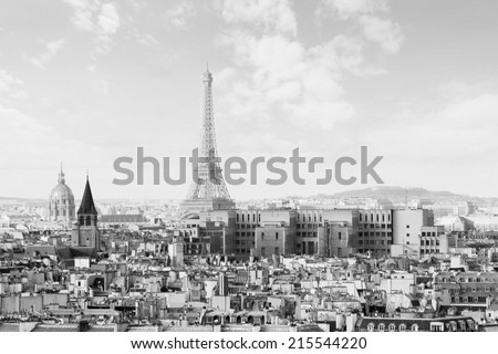 View of Paris at warm sunrise with silhouette of Eiffel tower, Black and White picture