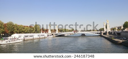 View of paris by the river. - stock photo