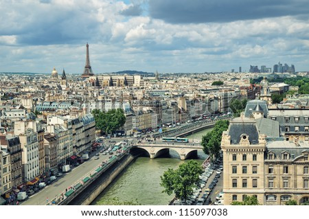 View of Paris form the Notre Dame. - stock photo