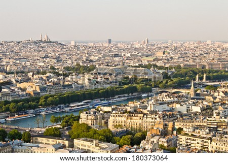 View of Paris, France from the Eiffel tower - stock photo