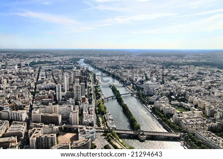 View of Paris from Eiffel Tower - stock photo
