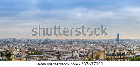 View of Paris from Sacre Coeur Basilica in France in summer day - stock photo