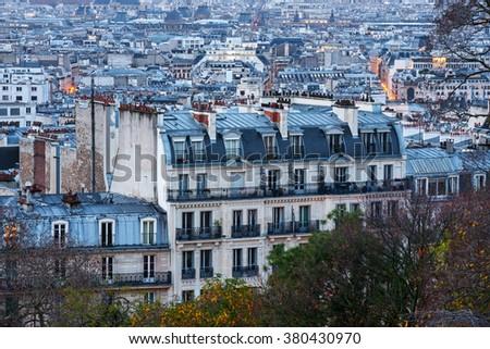 View of Paris from Sacre Coeur terrace (Montmartre) - stock photo