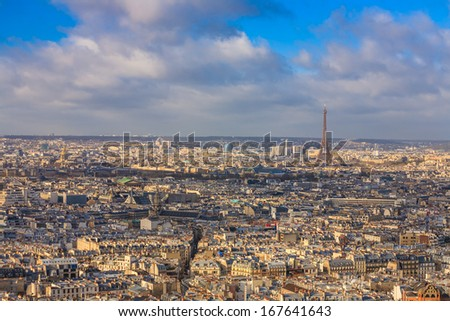 View of Paris skyline from Sacre Coeur Basilica in France