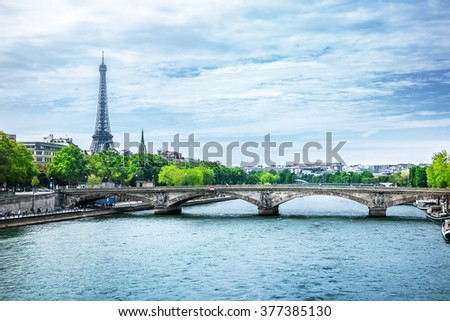 View of Paris with Eiffel tower - stock photo