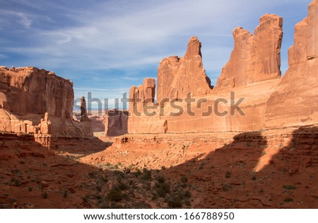View of Park Avenuel in Arches National Park, Utah. - stock photo