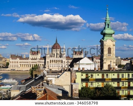 View of Parliament and roofs of Budapest, Hungary