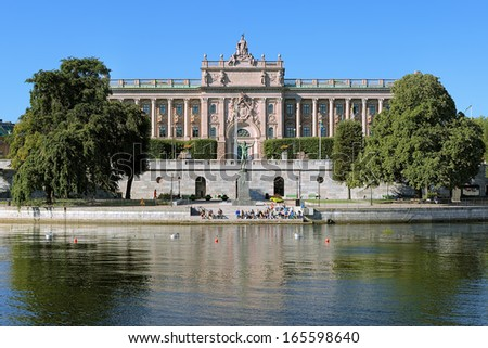 View of Parliament House (Riksdagshuset) from Strombron bridge in Stockholm, Sweden