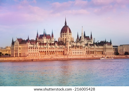 View of parliament near the river in Budapest, Hungary - stock photo