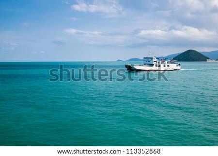 view of passenger ferry boat at Samui island - stock photo