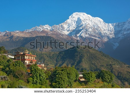 View of peaceful Himalayan village ( Ghandruk - Nepal )  - stock photo