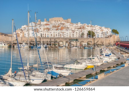 View of Peniscola from the harbor in Castellon, Spain - stock photo