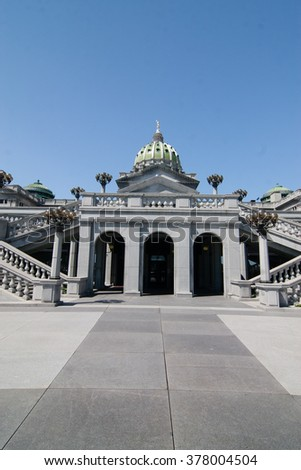View of Pennsylvania State Capitol In Harrisburg - stock photo
