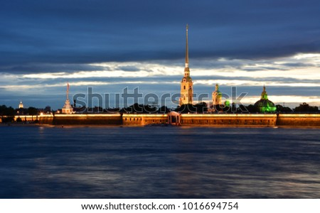 View of Peter and Paul's Fortress and Neva River in the evening, Saint Petersburg, Russia