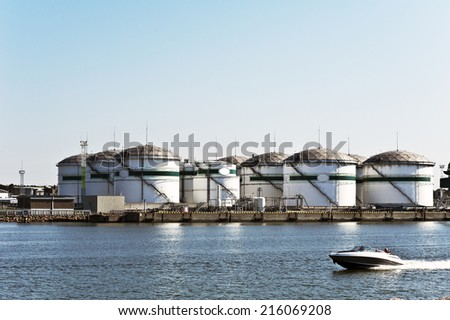 view of petrol industrial zone  - stock photo