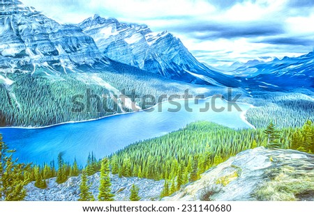 View of Peyto Lake in Canadian Rockies - stock photo