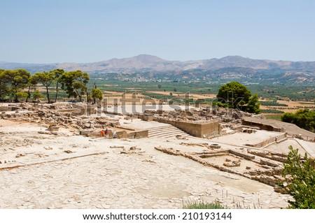 View of Phaistos on Crete island, Greece. - stock photo