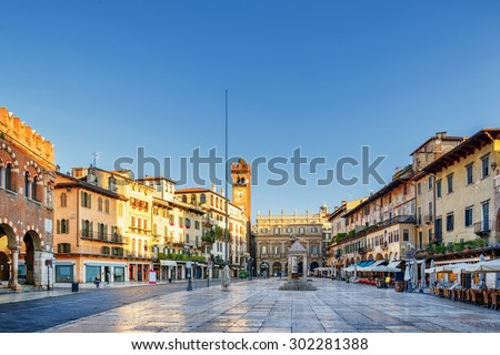 View of Piazza delle Erbe (Market square) in Verona, (Italy) in morning. Verona is a popular tourist destination of Europe. - stock photo