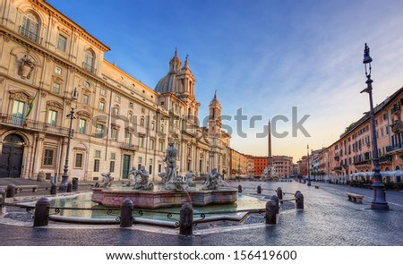 view of piazza Navona in the morning. Rome. Italy. - stock photo