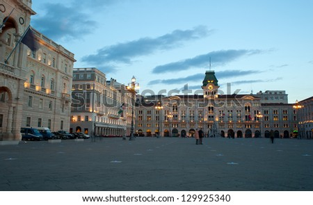 View of Piazza Unit���  d'Italia in Trieste, Italy