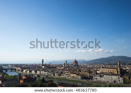 View of Piazzale Michelangelo is a square with a panoramic located in the Oltrarno district of the city , Florence, ITALY